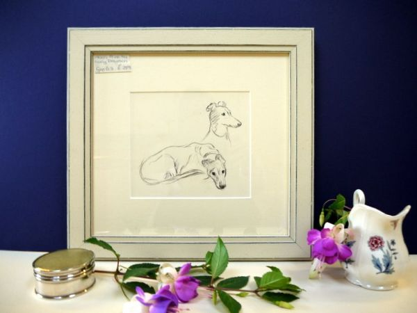 Greyhound - study - Gre D3 -   1930's print by Lucy Dawson